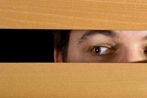 Man peeks through the blinds